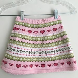 Gymboree knit pink/green sweater skirt w/hearts 3T